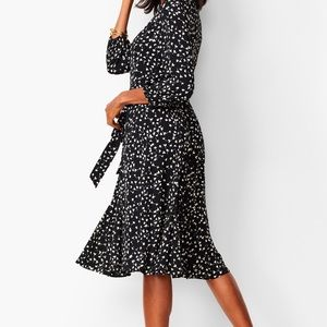 Talbots | Black & White Floral Fit and Flare Dress